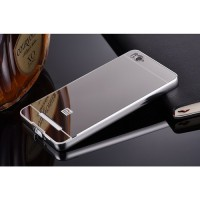 Aluminium Bumper with Mirror Back Cover for Xiaomi Mi 4i/4c - Silver