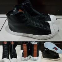 Sepatu Converse Jack Purcell Tumbled Leather Black Brown Hitam Coklat