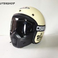 Helm Bogo JPN Jap Style Klasik Cream Milk Black Vespa + Goggle Mask