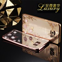 Casing Samsung S7 S 7 Flat Silicon Soft Case Flower Bling Diamond