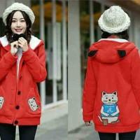 Busana Wanita Pakaian Baju Jaket Hoodie CAT MEOW A Red MURAH 4532a06004