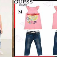 Guess Setelan Anak Perempuan Atasan + Bawahan Jeans + Ikat Pinggang