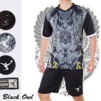 BLACK OWL baju kaos stelan setelan jersey futsal sepak bola kayser