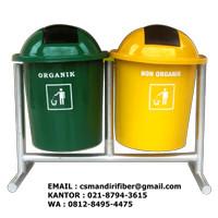 Tong Sampah Fiber Bulat 5o liter 2 in 1