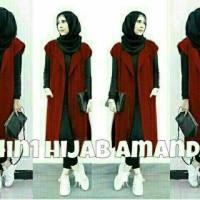 Baju Busana Muslim Wanita Setelan CR Amanda Hijab Maroon Set 4in1