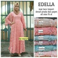 Long Dress pesta Maxi Wanita Muslim Edella Brokat lace import toska