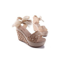 Promo Moonar Ankle Strap High Heels Pumps Sandals Beige Termurah