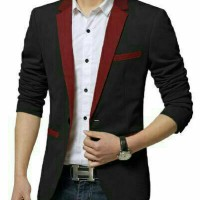 Blazer Zara Man Black Maroon Limited