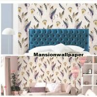 Jual Wallpaper Dinding Motif Vintage Bulu Warna Elegan Murah