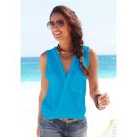 Baju Pantai Wanita Sleeveless V Neck Beach Shirt Size S - Blue