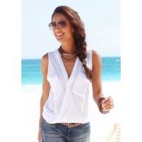Baju Pantai Wanita Sleeveless V Neck Beach Shirt Size L - White