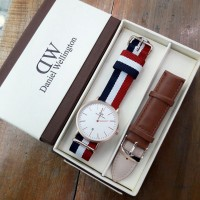 jam tangan DANIEL WELLINGTON FULL SET PLAT WHITE LEATHER