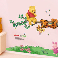 wall sticker 50x70/wall stiker transparan-AY703-POOH N HANGING TIGER