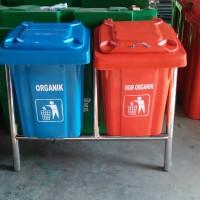 Tong sampah fiber kotak ukuran 90 liter 2 in 1
