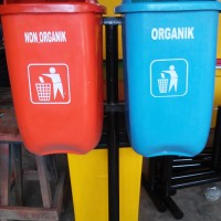 Tong sampah fiber 60 liter 2 in 1