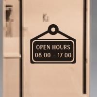 Stiker Custom Open Hours Jam Buka Tutup Toko Warnet Cafe Sign Sticker