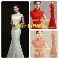 long dress full brokat gaun pesta merah / imlek red / shanghai BAGUS