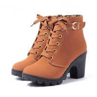 Terbatas HangQiao Women Boots Thick With High Heeled Bandage Martin Sh
