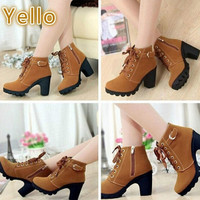 Eksklusif LALANG Women Boots Thick With High Heeled Bandage Martin Sho