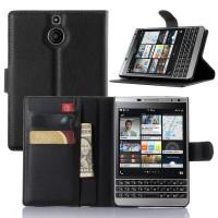 Jual Leather Wallet Flip Cover Case BB Blackberry Passport SILVER EDITION Murah