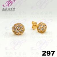 Anting emas tusuk Mushrooms gem Perhiasan imitasi Gold 18k Yaxiya 297