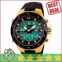 Jual Jam Tangan Pria Dual Time SKMEI Casio Men Original AD1016 Gold Murah