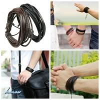 Jual Gelang kulit pria wanita leather bracelet couple pasangan hitam coklat Murah