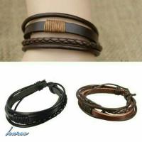 gelang kulit tali layer pria wanita leather bracelet unisex