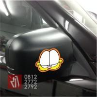 stiker mobil cutting Garfield smile face sticker lucu murah -02
