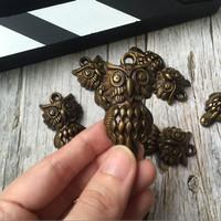 vintage charm / hiasan gelang scrapbook gambar burung hantu