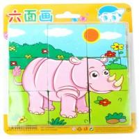 Puzzle Blok Kayu 6 Sisi Mainan Anak Balita Gambar Binatang Hutan