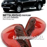 Crystal Red Smoke - Lampu Belakang Mitsubishi Strada Triton L200 (SET)