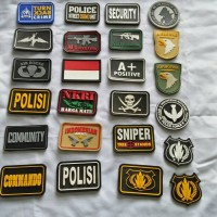 Jual patch rubber bendera indonesia,polisi,police,airborne,security,sniper Murah