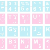 Stiker Keyboard Arab Background Biru Muda dan Pink Font Putih