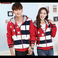 Pakaian Jaket Couple | Five Star Merah | All size fit M/L