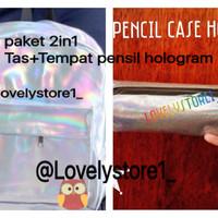Jual Tas hologram ransel besar+Tempat pensil hologram paket 2in1 murah Murah