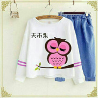 Hot.. Setelan Denim Sleep OWL