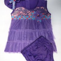 Baju Anak Bayi Perempuan - Pita Polkadot Purple