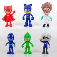6pc PJ MASKS Action Figure Mainan Boneka Miniatur Anak / Pajangan kue