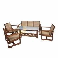 Set Meja dan Kursi Tamu Antik Kayu Jati, Rotan, dan Marmer