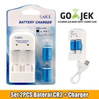 Set 2PCS Baterai CR2 dan Chargernya ( Bisa di Charge Ulang )