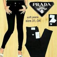 Celana Jeans Pensil Skinny Wanita Pra Da Hitam Ukuran 27 - 30
