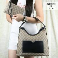 Tas Gucci HOBO Waterproof Leather like Ori 2in1 (7569)