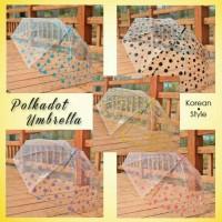 Payung Cantik Unik Tembus Pandang Transparan Polkadot Umbrella Modis