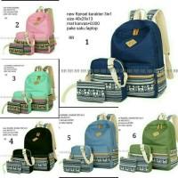 Ransel set 3in1 tribal/ backpack/grosir tas sepatu wanita murah