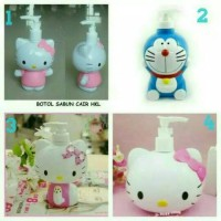 Botol tempat sabun/lotion karakter Doraemon Hello kitty