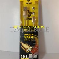 TERKINI KABEL DATA PAPADA PA-09 2IN1 IPHONE + MICRO USB MAGNETIC HEAD