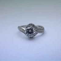 cincin nikah desain model solitaire bahan emas putih 14k