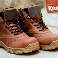 sepatu boots safety kickers tactical leather brown3