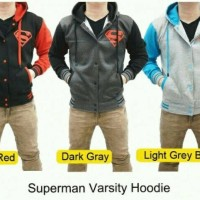 paling laku! jacket hoodie varsity superman pria murah